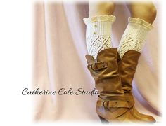 Leg warmers lace pointelle leg warmers by CatherineColeStudio