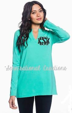 Monogrammed Tunic Monogrammed Cotton Top by SennCreations on Etsy, $29.99