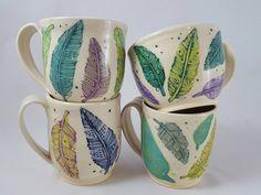 Single ceramic mug, blue and green feather mug, ceramic feather mug, ceramic mug, pottery mug, feather mug by RachelVitkoPottery on Etsy https://www.etsy.com/listing/471665115/single-ceramic-mug-blue-and-green