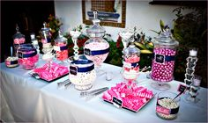 hot pink, navy blue, and white candy buffet