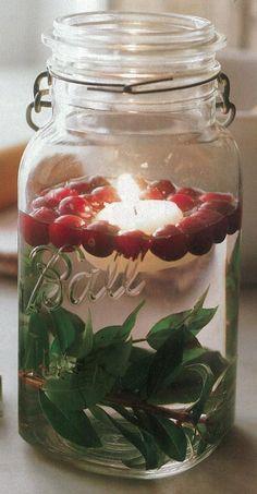 Christmas cranberry mason jar decoration.