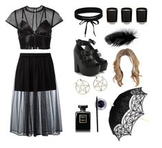 """""""C4"""" by keziaflorenceoneill ❤ liked on Polyvore featuring Pamela Love, Givenchy, Boohoo, Bordelle, Chanel and Maybelline"""