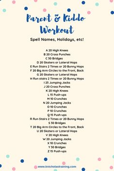 Indoor Workout You Can Do With Your Kids — Karen Nicholas Training - Trend Fitness Exercises 2020 Alphabet Workout, Family Fitness, Kids Fitness, Fitness Tips, Rogue Fitness, Muscle Fitness, Fitness Goals, Fitness Motivation, Formation Continue