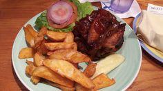 Veggie Burger with Plantains at Bimini Road Cafe, Paradise Island, Atlantis - delish...
