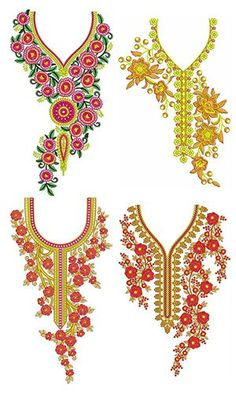Neck Sep 2017 Bulk Download | 50 Designs Embroidery On Kurtis, Embroidery Suits, Ribbon Embroidery, Embroidery Stitches, Border Embroidery Designs, Kurti Embroidery Design, Free Machine Embroidery Designs, Gala Design, Paper Flowers Craft