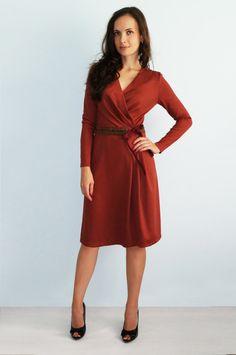 Оrange jersey dress Terracotta Autumn dress with long sleeves