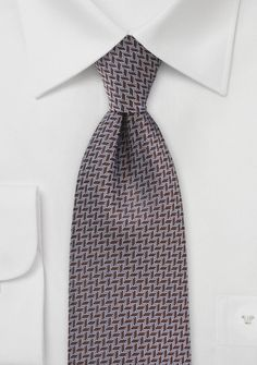 Brown and White Chevron Patterned Tie for Fall Weddings.  Perfect!