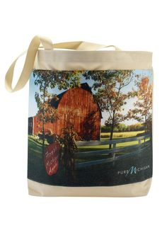 There are so many uses for this Pure Michigan tote! This summer, use it to carry your beach items, farmers market finds or even groceries easily and stylishly while showing off your Michigan pride!