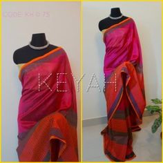 Double shaded block printed silk cotton saree with blouse.For details, please mail to keyahboutique@gmail.com