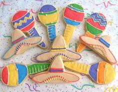 Fiesta Fiesta Maraca and Sombrero Decorated Cookie by lorisplace