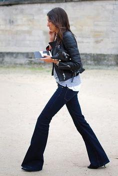leather moto jacket + perfect dark wash flared jeans