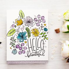 Simon Says Stamp clear stamps are high quality photopolymer and made in the USA. The stamp set measures 4 inches x inches. Bullet Journal Layout, Bullet Journal Ideas Pages, Bullet Journal Inspiration, Flower Doodles, Simon Says Stamp, Hello Beautiful, Watercolor Cards, Clear Stamps, Cardmaking