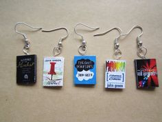 John Green collection book charm Earings -The fault in our stars, paper towns, looking for Alaska, WG WG, an abundance of Kartherines on Etsy, $4.17