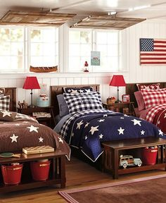 Americana Kids Room - this would make an especially nice boys room! If you didn't have space for each bed laid out seperately, you could still do this with bunk beds!) For sky high ranch bunk house Blue Rooms, Blue Bedroom, Kids Bedroom, Bedroom Decor, Bedroom Ideas, Childrens Bedroom, Design Bedroom, White Bedrooms, Shared Bedrooms
