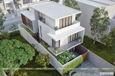 Biệt thự hiện đại 3 tầng 4 Narrow House Designs, Narrow House Plans, Modern Exterior House Designs, Exterior House Colors, Modern House Plans, Modern House Design, Modern Townhouse, Townhouse Designs, Small Villa