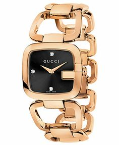 Gucci Watch, Women's Swiss G-Gucci Diamond Accent Pink Gold PVD Stainless Steel Bracelet 32x30mm YA125409