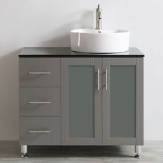 Vinnova Tuscany 36-inch Single Vanity with White Vessel Sink with Countertop without Mirror