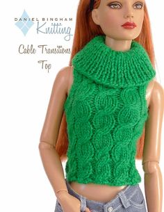 "Knitting pattern for 16"" doll (Tyler Wentworth): Cabled Transitions Top"