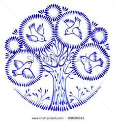 floral circle hand drawn illustration in Ukrainian folk style Poster Bird Illustration, Floral Illustrations, Ballpoint Pen Drawing, Ukraine, Vintage Drawing, Art Template, Folk Fashion, Painting Lessons, Typography Logo