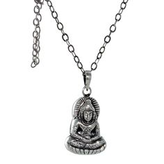 BUDDHA PENDANT Sterling Silver Necklace 16""