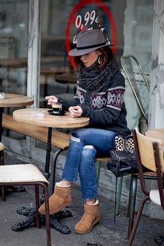 Patterned Cardigan With Denim, Grey Crochet Scarf, Hat And Ugg Booties