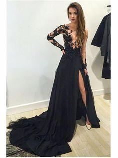 Sexy Black Prom Dresses Scoop Sweep Brush Train Slit Prom Dress Evening  Dress JKL295. Prom Dresses Long SleeveGrad ... ea8d03b56