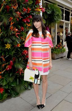 Pin for Later: UK Stars Step Out in Summer Frocks and Statement Shoes Lilah Parsons Lilah was out again, this time in a striped jacket, for the Kate Spade Tropical Fete.