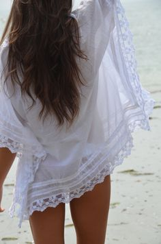 boho beach cover-up in white lace