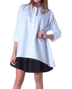 +Non-stretchy pin stripes dolman sleeves oversized shirt with white collar and placket contrast