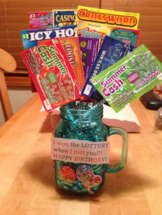 I won the lottery when I met you, Birthday gift idea for boyfriend. I made this and thought it was fairly easy, I got all the lottery tickets at a local gas station. I found the mug, straws, and shredded paper to put inside the mug at Michaels.