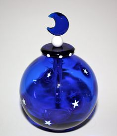 Handblown Glass Cobalt Blue Round Perfume Bottle with White Stars and glass Dabber with Moon