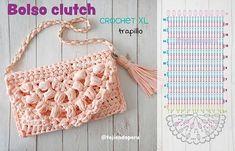 Crochet Chart, Love Crochet, Crochet Motif, Diy Crochet, Crochet Designs, Crochet Clutch Bags, Crochet Purses, Baby Afghan Crochet, Crochet Blanket Patterns