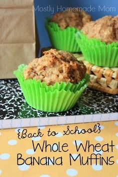 Whole Wheat Banana Muffins - my kids adore these and they're SO healthy for them!! #muffins #recipe #banana
