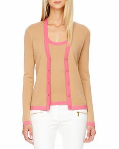 Michael Kors Contrast-Trim Cashmere Cardigan  Zip-Pocket Skinny Jeans /// Love this twin set!  Very nice color combination