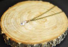 Crystal Clear Swarovski Drop Necklace. $25.00, via Etsy.