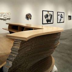 Modern Reception Desk Designs เคาเตอร์ reception โทนสี และวัสดุ และการเล่นเส้นนอนให้มีระยะ