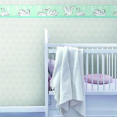 Swimming Swans Border. Young at Heart book by York Wallcoverings.