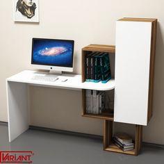 Masa de Studiu cu Dulap Acelya  -  Alb/Nuc Bedroom Desk, Study Desk, Computer, Timeless Design, Floating Nightstand, Corner Desk, Living Spaces, Shelves, Contemporary