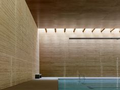 Structural walls 2 ft wide made out of #tapial (#rammed earth) in this Public swimmingpool in Spain. Structural and energetic efficiency, awesome texture and long term #sustainability.   Authors: Antonio Raya+Cristóbal Crespo+Santiago Sánchez+Enrique Antelo [vier arquitectos]