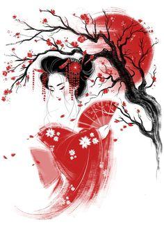 Geisha Drawing, Geisha Art, Japanese Artwork, Japanese Painting, Japanese Geisha Tattoo, Japanese Kimono, Geisha Tattoo Design, Art Asiatique, Japon Illustration