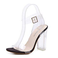 9982952f62eed Transparent Sandales à Talons Hauts Clear Chaussure Femmes Boucle  Métallique Cristal Escarpins High Heels Élégant Chaussure Été