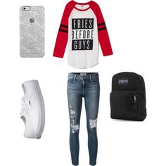 School by betty22b on Polyvore featuring polyvore, fashion, style, Frame Denim, Vans, JanSport and Uncommon