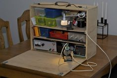Portable electronics workspace. Pretty compact, putting all the bits in one box