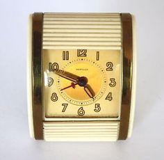 1950's Vintage Westclox Travel Alarm Clock Art Deco Ivory in Working Condition   eBay