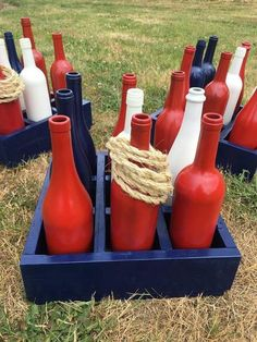 Patriotic Wine Bottle Ring Toss of July Game Americana Decor Painted Wine Bottle Ring Toss of July Decor Patriotic Decor 4th Of July Games, Fourth Of July Decor, 4th Of July Celebration, 4th Of July Decorations, 4th Of July Party, 4th Of July Ideas, 4th Of July Outdoor Games, Americana Decorations, Fourth Of July Crafts For Kids