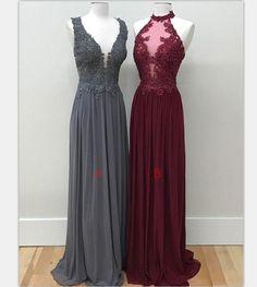 Simple Chiffon Lace Prom Dresses,Long Prom Dresses,Evening Dresses,Prom