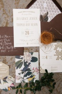 combo of patterns, font on outer envelope, white font on dark envelope, interesting design layout of invitation