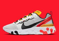 Another Stylish Nike React Element 55 Emerges With Yellow And Bright Crimson Hype Clothing, Shoes Too Big, Sneaker Boots, Trainers, Running Shoes, Kicks, Street Wear, Footwear, Sneakers Nike