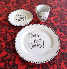 Riots Not Diets Mug Saucer and Plate Set on Etsy, $35.00