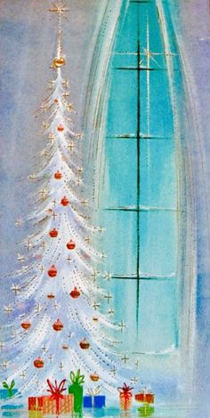 Mid-Century Modern Christmas Card. White Christmas Tree. Christmas Star. Retro Christmas Card. Vintage Christmas Card.